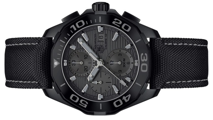 "Replica TAG Heuer Aquaracer 300m Ceramic ""Black Phantom"" Avaliable In Dark Titanium, Yellow Dial And Strap highlights"