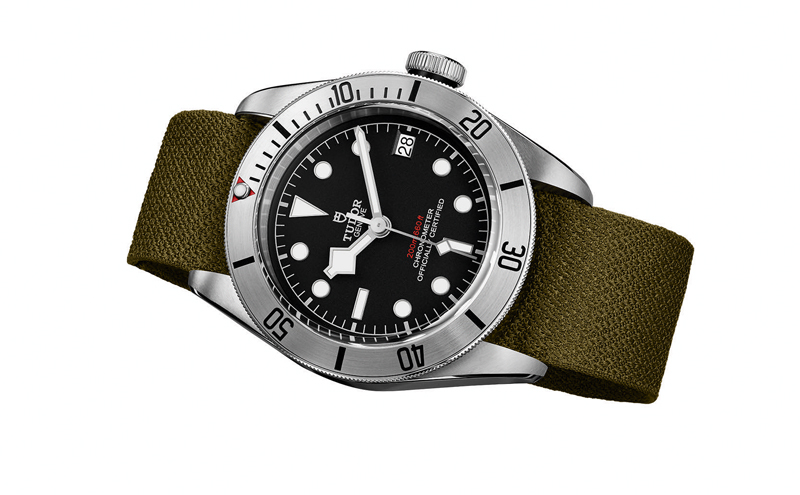 Tudor Heritage Black Bay Steel with Khaki green fabric strap.